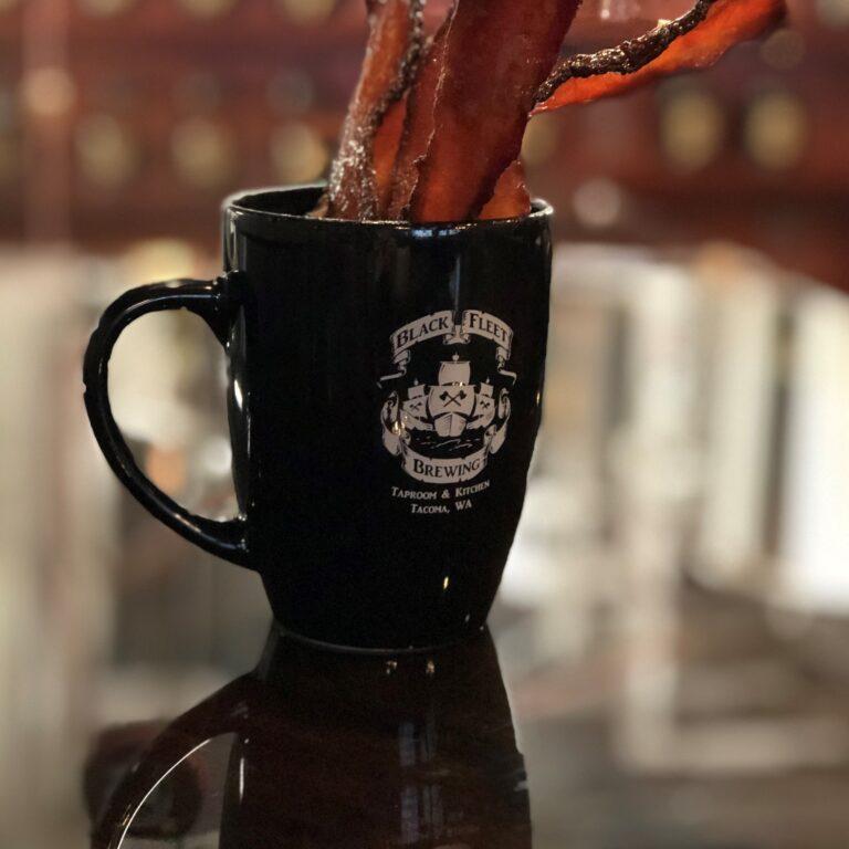black coffee mug white logo black fleet brewing