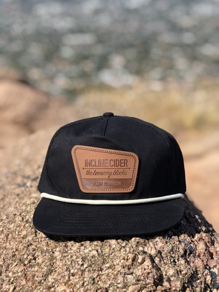 Incline Cider Black grandpa style snapback with leather patch